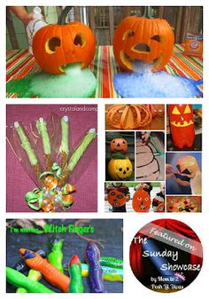 Pumpkins & Witches, Oh My! Fun pumpkin crafts, witch finger treats and more featured on this weeks Sunday Showcase linky.