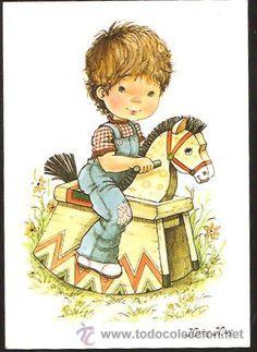 POSTAL MARY MAY AÑO 1983 (Postales - Dibujos y Caricaturas)  Era un niño que soñaba un caballo de carton  abrio los ojos el niño el caballito no vio con un caballito blanco el niño volvio a soñar y por la crin lo cogia ahora no escaparas Sarah Kay, Mary May, Romantic Paintings, Mo Manning, Boy Cards, Little Boy And Girl, Holly Hobbie, Precious Children, Country Art