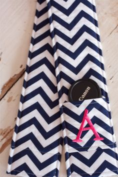Monogrammed Camera Strap Cover- Navy and White Chevron