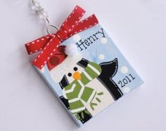 Mini Christmas Ornament  Hand Painted Canvas  Holiday Decoration