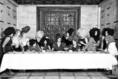 "Her Last Supper - Marjorie Salvaterra, based on Jean-Luc Godard 1964 film titled, ""Une Femme Mariee"" Black And White Portraits, Black And White Photography, Photography Women, Fine Art Photography, Contemporary Photography, Berenice Abbott, Modern Surrealism, Surreal Photos, Last Supper"
