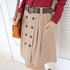 Korea womens shopping mall [styleberry] (Beltset) Natural Button Point Flare Skirt / Size : S,M / Price : 44.92 USD #korea #fashion #style #fashionshop #styleberry #lovely #skirt #beige