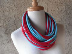 3in1 Deluxe Red & Turquoise Jersey Scarf Necklace by sandeeknits, $32.00
