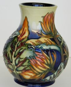 "Designer Philip Gibson Moorcroft Pottery Burdock Vase 6 5""H w Original Box | eBay"