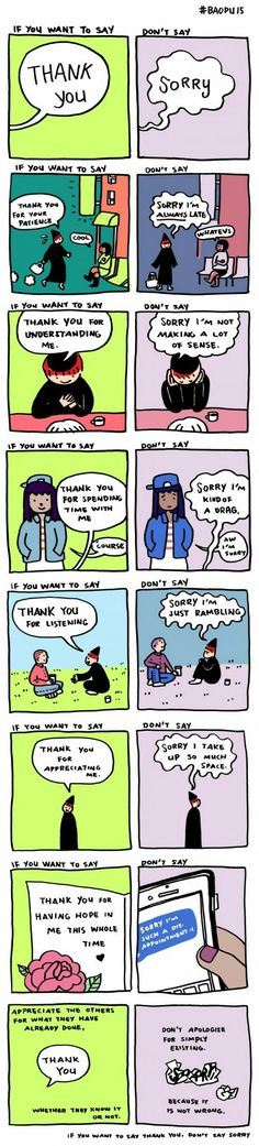Stop saying 'sorry' if you want to say thank you: A seriously insightful cartoon.