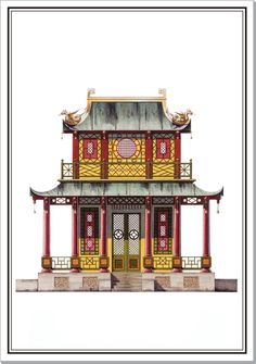 Andrew Zega and Bernd H. Dams, watercolor, Chinese House at Armanvilliers