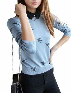 $76.05 nice Women Detachable Shirt Collar Jumper Swallow Pattern Knitted Sweater 5356