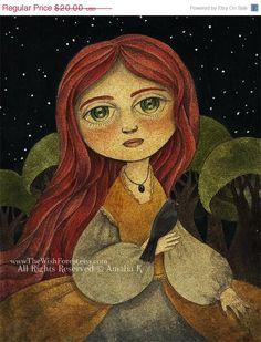 ON SALE Print of Original Whimsical Illustration, Big Eyed Girl Painting - Blackbird Calling by Amalia K