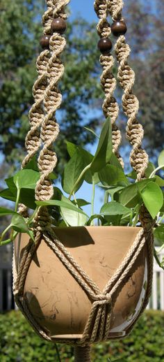 HELIX Macramé Plant Hanger Holder  6mm Braided Poly Fiber Cord - JUTE Four 1-inch (25mm) Round Wood Beads - WALNUT One 2-inch Metal Ring