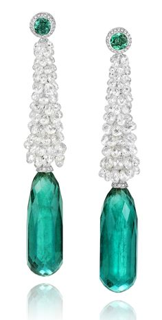Chopard Red Carpet Collection ~ Briolette Diamond and Emerald Earrings