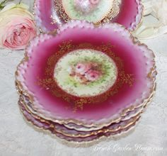 Set of 6 Antique Victorian Pink Roses Rosenthal Cake Plates