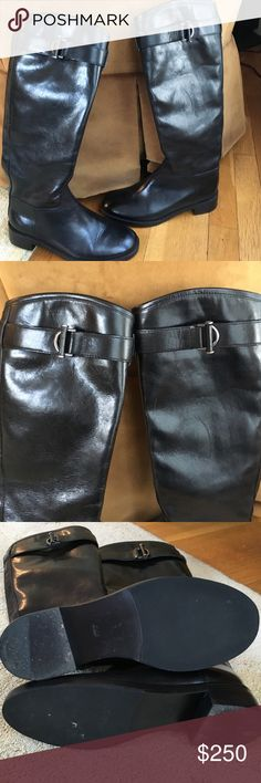 Tory Burch classic black leather boots Excellent condition like new.  Beautiful classic black leather riding boots. Designed with the Tory Burch burnished silver ring and toggle logo Tory Burch Shoes Winter & Rain Boots