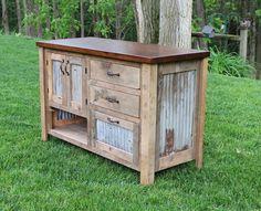 Rustic Vanity 48 Reclaimed Barn Wood Vanity w/Barn Tin by Keeriah