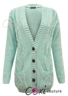 Womens Ladies Chunky Cable Knitted Long Sleeve Button Grandad Knitwear Cardigan - GREEN - One Size(UK8-14) - (Mixed Fibres): Amazon.co.uk: Clothing