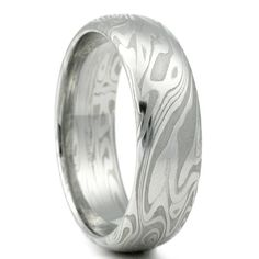 Damascus Steel Mens Wedding Band Four Pointed Swirling Star Pattern Domed Half Round Ring. Handmade Organic Woodgrain Stainless Band.