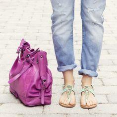 Bold details play up that easy going mindset. #Boho #Sandals #Handbag #RueLaLa