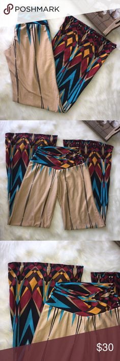 Yoyo 5 Tan Aztec Tribal Boho Print Wide Leg Pants Super chic and stylish Aztec Tribal Boho wide leg pants in excellent brand new with tags. Adorable and perfect for summer! Size small Yoyo 5 Pants Wide Leg