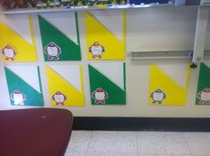 My new mailboxes for the classroom.  I have 28 folders along the bottom of my white board to put papers in that need to go home.  I alternated green and yellow folders and used numbers so I can reuse them every year.
