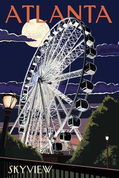 Atlanta, Georgia - Skyview Wheel - Lantern Press Poster