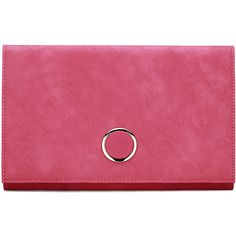Yoins Fuchsia Leather-look Metal Ring Accent Clutch Bag with Shoulder... ($30) ❤ liked on Polyvore featuring bags, handbags, clutches, yoins, purses, pink, pink clutches, pink handbags, vegan handbags and purse clutches