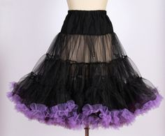 50s Vintage rockabilly  pinup black with purple trim net  petticoat /tulle underskirt for swing dress 20130081