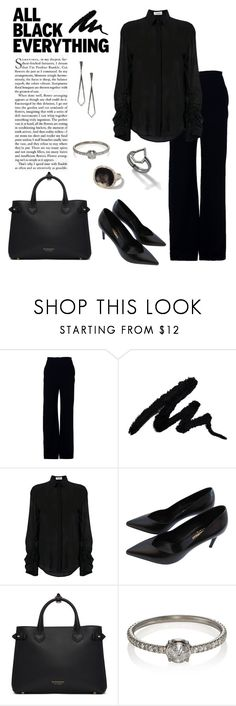 """All Black, Everything"" by windrasiregar on Polyvore featuring Brandon Maxwell, Yves Saint Laurent, Burberry and Eva Fehren"