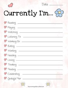 Free Currently I'm... Journal Printable