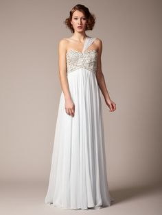 Silk Chiffon Beaded Empire Waist Gown by Marchesa Couture.