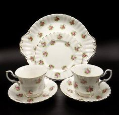 Royal Albert Forget Me Not Rose 6 Pcs Bone China Cookie B/B Plate Cups Saucers