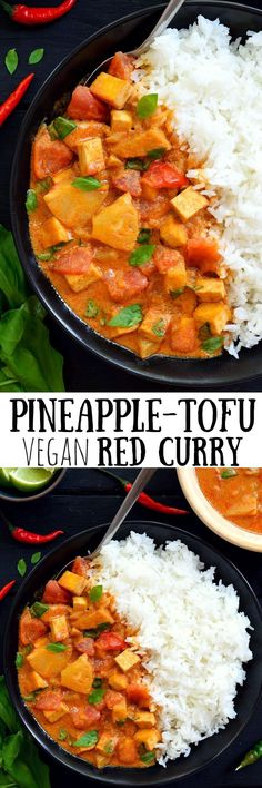 This recipe for vegan Thai curry is a quick and easy, healthy and delicious lunch or dinner idea. Fresh tomatoes, sweet pineapple and protein-packed tofu are served up in a creamy coconut milk sauce flavoured with red curry paste. Add as much or as little chili as you want. This vegan Thai curry will be on the table in less than thirty minutes!