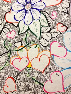 "http://pinterest.com/kbranham26/zentagles-my-new-therapy/  ""Exploring Hearts"" by KatersAcres a freeform Zentangle"