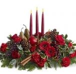 Joyful & Triumphant - The bountiful joy of the season is brought home to your holiday table with this magnificent harvest-themed candle centerpiece, featuring an abundance of garden elements including grapes, pears, a pomegranate and cinnamon sticks, arranged with fresh flowers and evergreens around three tall red tapers. A beautiful way to create a new tradition this year. $74.99