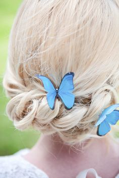 Single Blue Morpho silk butterfly hair pin with by flutter2me