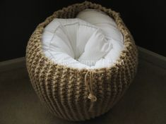Nickel Lane: Smart Pouf: Lucky Hanks on EtsyMake an ottoman from old sweater - Knitted Pouf Sofa Futton ChairUnique and Comfortable Knitted Pouf SofaLarge Knit Pouf - Lace - Not stuffed. Perfect for large bedding storage!Grand Pouf tricot dentelle non far Pouf En Crochet, Knitted Pouf, Crochet Cushions, Crochet Pouf Pattern, Mandala Crochet, Crochet Clutch, Crochet Purses, Arm Knitting, Knitting Patterns
