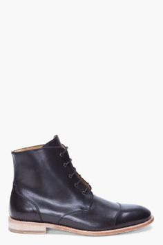 Carven Black High-top Leather Boots for men   SSENSE