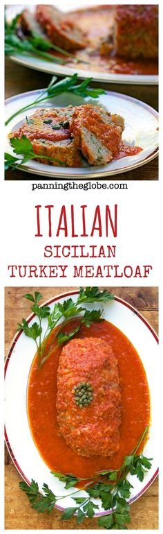 Sicilian Turkey Meatloaf: formed with potatoes instead of bread crumbs. Simmered in a pot on the stove with white wine and tomatoes.  Super tender and delicious! #Italian #meatloaf