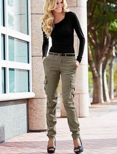 Cargo pants have a sense of tomboyism, yet it doesn't denounce a woman's feminity. They're casual and flattering, too!