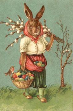EASTER BUNNY RABBIT WITH BASKET OF EGGS, FROM VINTAGE POSTCARD, MAGNET