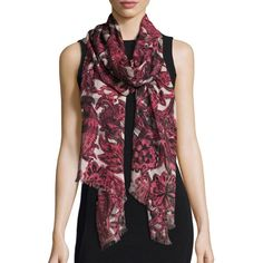 Burberry Floral Beasts Giant Check Scarf ($435) ❤ liked on Polyvore featuring accessories, scarves, accessories scarves, pink, floral scarves, lightweight shawl, burberry, burberry scarves and lightweight scarves