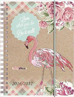 Schülerkalender/Schüler-Tagebuch 1 Seite = 1 Tag, 12x16cm A6 , PP-Einband Flamingo, Kalendarium 2016/2017