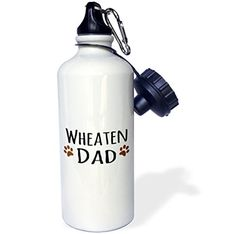 3dRose wb_154005_1 Wheaten Dog DadSoft Coated Wheaten TerrierDoggie by breeddoggy lover owner brown paw prints Sports Water Bottle 21 oz White >>> More info could be found at the image url.