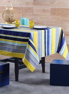 Stof - Nappe enduite à rayures LACANAU - 100% Coton Towels, Weaving, Table, Furniture, Home Decor, Tablecloths, Silver, La Perla Lingerie, Tableware
