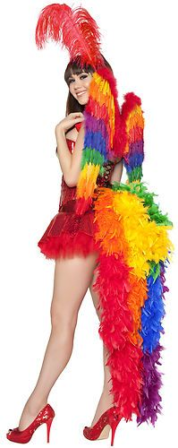 Sexy Rainbow Parrot Bird Vegas Showgirl Dancer Halloween Costume | eBay