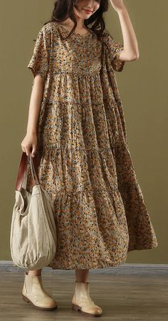 Bohemian o neck patchwork cotton Outfits yellow print robes Dresses summer – Linen Dresses For Women Simple Dresses, Casual Dresses, Summer Dresses, Summer Outfits, Summer Maxi, Casual Summer, Summer Time, Linen Dresses, Cotton Dresses