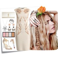 """coral and silver combo"" by diaparsons on Polyvore"