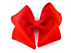 big Red Hair Bow - Baby Toddler Girl - Solid Color 3.5 Inch Boutique Bow on Alligator Clip Barrette - Christmas valentines day $2.65