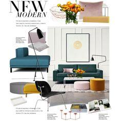 spring by homeluz on Polyvore featuring interior, interiors, interior design, ホーム, home decor, interior decorating, Vitra, Muuto, Blu Dot and Softline