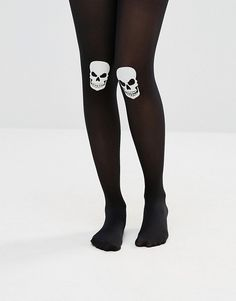 ASOS | ASOS Halloween Glow In The Dark Skull On Knee Tights Opaque finish High-rise stretch waist Glow-in-the-dark knee patch Hand wash 89% Nylon, 11% Elastane