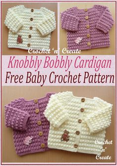 Knobbly baby cardi - An ideal garment to slip on over a top, dress or boys shirt. The pattern for this design is in a raised textured stitch comprising of just two rows. A soft cuddly cardigan which will give baby that extra bit of warmth when requ Crochet Baby Cardigan Free Pattern, Crochet Baby Sweaters, Baby Sweater Patterns, Baby Clothes Patterns, Baby Knitting Patterns, Baby Patterns, Crochet Baby Clothes Boy, Knitted Baby Cardigan, Knitting Yarn