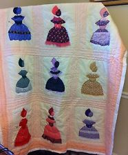 Handmade Sunbonnet Sue Southern Belle Hand Pieced & Stitched Quilt 62